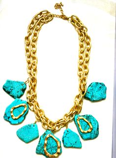 Put this turquoise chunk necklace with any solid colors for a fun take on Summer's hottest trend- colorblocking!!