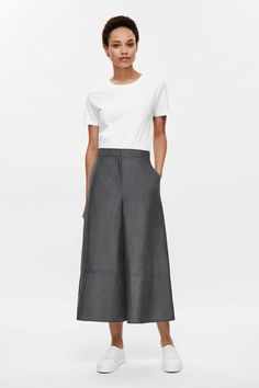 Linen-wool culottes - Grey - Trousers - COS US