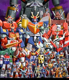 various giant robots to scale Big Robots, Cool Robots, Japanese Robot, Japanese Cartoon, Super Robot Taisen, Robot Cartoon, Japanese Superheroes, Vintage Robots, Mecha Anime