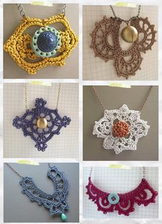 Crochet necklaces with a beautiful way of displaying them.