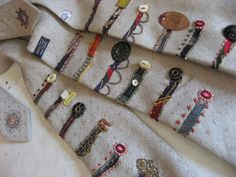 Fantastic look, and a great way to use precious scraps! -- Maybe use this idea to make an heirloom blanket for a bride or new baby? Sculpture Textile, Art Textile, Textile Artists, Felt Embroidery, Embroidery Stitches, Fabric Art, Fabric Crafts, Contemporary Embroidery, Fabric Journals
