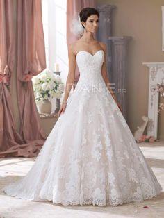Robe de mariée princesse col en coeur sans bretelle bustier dentelle  [M1509097449] ,