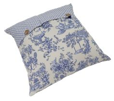 Blue and white toile cushion