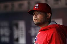 Oct 4, 2015; Atlanta, GA, USA; St. Louis Cardinals catcher Yadier Molina (4) in the dugout against the Atlanta Braves in the ninth inning at Turner Field. The Braves defeated the Cardinals 2-0. Mandatory Credit: Brett Davis-USA TODAY Sports