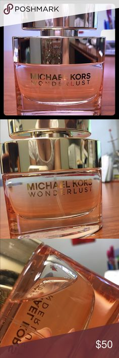 Michael kors wonderlust perfume 1.7oz. Used maybe 3 times. Can't even tell any perfume had been used. Deeply romantic it's a blend of luxurious blossoms mingled with delectably spiced notes that melt into a warm finish of exotic woods Michael Kors Other