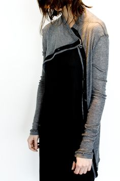 Wool Cashmere Ribbed Asymmetrical Cardigan Available in Charcoal Grey Look Fashion, Fashion Outfits, Minimal Fashion, Couture, Refashion, Pretty Dresses, Knitwear, What To Wear, Dresser