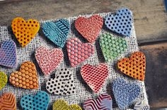 Ceramic Heart Magnets by chARiTyelise on Etsy, $25.00