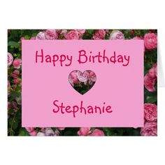 Personalized Name Pink Rose Birthday Card #cards #birthday #happybirthday