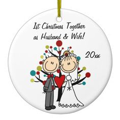 Wedding Couple 1st Christmas Personalized Ornament #Christmas #ornaments #couple #wedding #married #1st #first