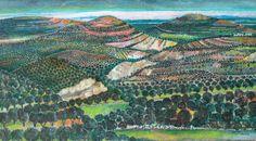 "Original Acrylic on Canvas ""Behind the Landscape"" (110 x 200 cm) by Palestinian Renowned Artist Nabil Anani #Art #Artwork #Palestinian #Artist #Palestine #Painting #ArtCollector #ArtGallery #Jerusalem #Fields #Landscape #Olive #Trees"