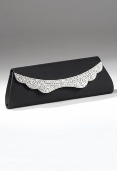 Handbags - Full Satin Flap Handbag with Rhinestone Detail from Camille La Vie and Group USA