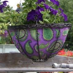 Purple Paisley Hanging Art Planter