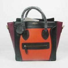 6831852093 Celine Bags Boston Smile Leather Black Orange Sale High Quality