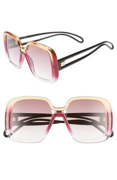 b02e6f4575 GIVENCHY 55MM SQUARE SUNGLASSES - BROWN BLUE.  givenchy