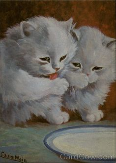Two White Kittens after Drinking Milk (Reproduction)