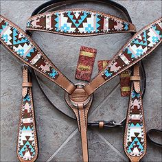 HILASON WESTERN LEATHER HORSE BRIDLE HEADSTALL BREAST COL...
