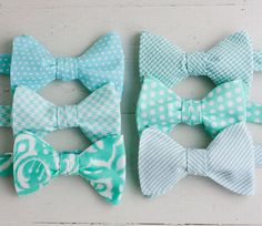 The Beau men's mint collection bow by thebelleandthebeau on Etsy the guys could each have their own pattern :)