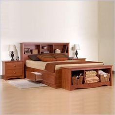 Prepac Monterey Cherry Queen Wood Platform Storage Bed 3 Piece Bedroom Set - CBQ-6200-PKG
