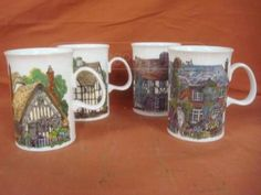 Dunoon cottages tea mugs. Established over twenty-five years ago, Dunoon is a leader in the production of the high quality Fine Bone China mugs, tableware and kitchenware. Factory shops in Dunoon, Scotand and Stafforshire, England. Tea Mugs, Coffee Mugs, Kitchenware, Tableware, China Mugs, Fine China, Mug Cup, Cottages, Clocks