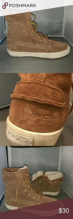 Suede Polo Sneakers Women's tan suede high top Polo sneakers in excellent condition. Polo by Ralph Lauren Shoes Sneakers