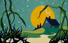 Retro Deco Storybook Moonrise Cottage | by cottagelover1953