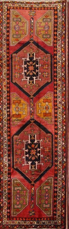 Vintage Geometric Runner Ahar Heriz Persian Oriental Rug 12 7 x 3 10 Kitchen Rug, Runes, Oriental Rug, Persian, Bohemian Rug, Vintage, Kitchen Carpet, Kitchen Mat, Persian People
