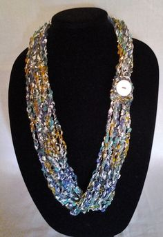 Blue, Teal, Gold, and White Chain Crochet Ladder Ribbon Yarn Necklace Scarf with Button