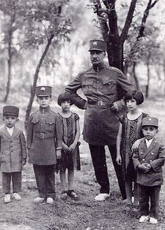 Reza Shah and children, in the 1930's