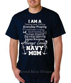 Navy Mom, Short Sleeve, Navy blue T-shirt by KKDcustomized on Etsy