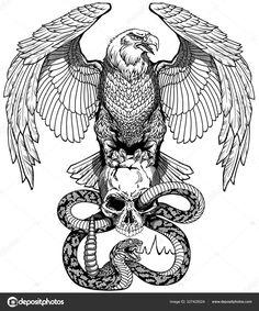 Eagle Back Tattoo, Eagle Tattoos, Eagle Skull, Eagle Art, Future Tattoos, Tattoos For Guys, Cool Tattoos, Rattlesnake Tattoo, Snake Sketch