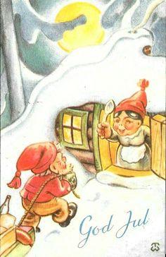 Scandinavian Christmas, Thor, Norway, Christmas Postcards, Magic, Christmas Ornaments, Holiday, Painting, Art