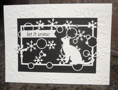 Here is another entry for Darnell's NBUS (Never Before Used Schtuff) Challenge #9, and Double D's Black and White Party Challenge. I bought this cat die (Amy Designs Cats and Dogs) in early December and finally opened the package. The embossing folder is by Sizzix and the snowflake die (Flurry Frames) is PoppyStamps. The sentiment is by Memory Box. I'm obviously in a black and white crafting mood today because I ended up making THREE cards in one afternoon!  djkardkreations NBUS ...