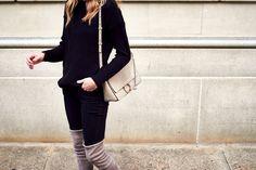 Stuart Weitzman Highland Over the Knee Boots, Black Sweater, Black Skinny Jeans, Chloe Faye Medium Handbag, Black Celine Sunglasses, Fall Outfit @nordstrom