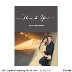 Dark Gray #Photo #Wedding Thank You #Cards