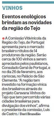 #winesoftejo #vinhosdotejo #cvrtejo  Em detalhe - Caravana dos Vinhos do Tejo' - 'Grande Prova Anual de Vinhos do Tejo' no Jornal DCI.