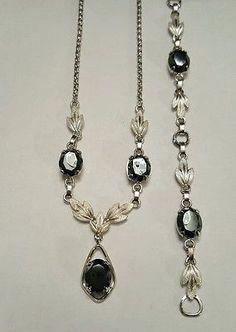 Vintage Van Dell Sterling Silver & Hematite Necklace & Bracelet 14.8 gram