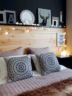 Cabecero con repisa- Micasarevista Bedroom Bed Design, Home Room Design, Home Decor Bedroom, Modern Bedroom, Aesthetic Room Decor, Home And Living, Room Inspiration, Home Remodeling, Ikea