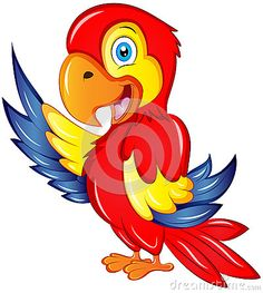 Cute Cartoon Colorful Macaw Vector Illustration with friendly smile.