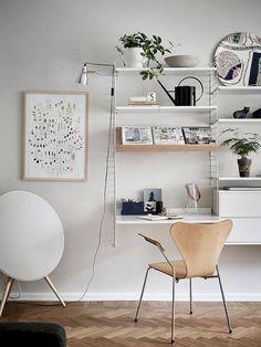 (my) unfinished home office corner. Home Office Decor, Office Furniture, Living Room Furniture, Modern Furniture, Furniture Ideas, Workspace Inspiration, Decoration Inspiration, Interior Inspiration, String Shelf
