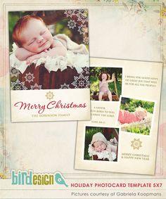 PSD Christmas Card Photoshop template  Great news  by birdesign, $8.00