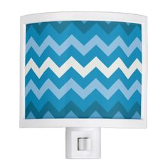 Blue #chevron #zigzag night light with colors based on the Coastal Decor color palette.