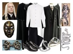 """""""Lucius Malfoy"""" by themaidofblood ❤ liked on Polyvore featuring Yves Saint Laurent, Lands' End, COSTUME NATIONAL, River Island, Elise Dray, men's fashion and menswear"""