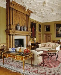 The South Drawing Room at Blickling Hall, shows the Jacobean with the Jacobean chimneypiece & ceiling, C19th
