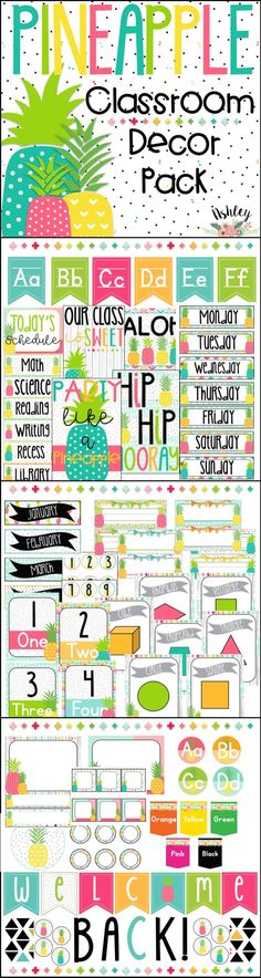 Editable-Bright Pineapple Classroom Decor Pack! Over 170 Pages. You'll have the cutest classroom in the school!