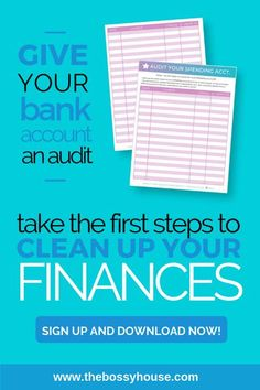 Are your finances a mess? Take this step to clean up your finances by auditing your bank account. Giving your bank account a once-over is something we're supposed to be doing regularly. Like every month. If you're not doing that, use my template to audit yours today! www.thebossyhouse.com #financialplanning #budgeting
