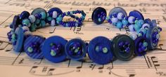 blue button embellished right angle bracelet by randomcreative, via Flickr