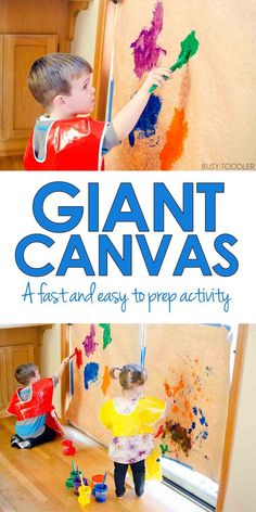 Giant Canvas Toddler Art - Busy Toddler Giant Canvas Toddler Art: Love this idea for an indoor toddler activity! Quick and easy toddler process art. Art Activities For Toddlers, Painting Activities, Infant Activities, Classroom Activities, Fun Activities, Activities For 2 Year Olds Indoor, Art For Toddlers, Toddler Gross Motor Activities, Classroom Ideas