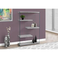 Monarch Specialties Inc. Monarch Specialties Bookcase with 4 Shelves in Grey Cement (Silver) / Tempered Glass (I Glass Bookcase, 4 Shelf Bookcase, Glass Wall Shelves, Etagere Bookcase, Wood Shelves, Storage Shelves, Gold Etagere, Grey Shelves, Corner Shelves