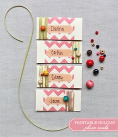 Or a grown up can use them too.  Fruit time place cards?  Not just for weddings many thanks lovely ladies  http://www.weddingchicks.com/2011/11/18/printable-holiday-place-cards/