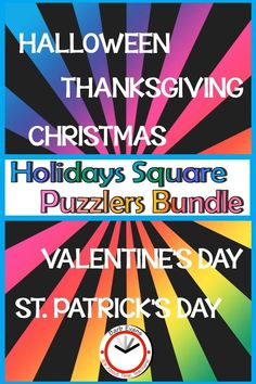 HOLIDAY SQUARE PUZZLERS BUNDLE combines 5 square puzzler products into one money saving package. This bundle of brain teasing, critical thinking puzzles will provide challenges for your students for 5 holidays through the school year. Pupils must reconstruct the differentiated square arrays so that all of the images match on every interior side. Early Elementary Resources, Classroom Resources, Teacher Resources, Early Finishers, Brain Games, Brain Teasers, Critical Thinking, Problem Solving, Puzzles